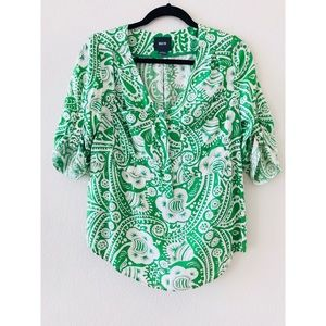 Maeve spring green pattern blouse